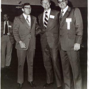 1970s Columbia from left Gov. Jim Edwards, Lt. Gov Brantley Harvey, Mascot CEO Ed Mitchell
